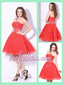 2016 Luxurious Sweetheart Beading Prom Dress in Red for Fall