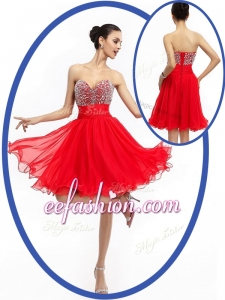 2016 Perfect Sweetheart Red Short Prom Dresses with Beading