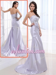 2016 Popular Column Sweetheart Prom Dresses with Beading and Ruching
