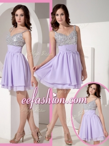 2016 Pretty Sweetheart Beading Lavender Short Prom Dress