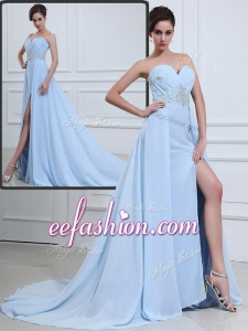 2016 The Cheap Brush Train Sweetheart Beading Prom Dresses in Light Blue