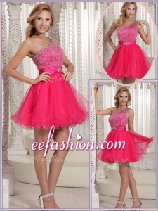 Formal One Shoulder Beading Short Prom Dresses for 2016