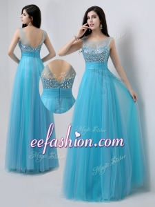 Popular Scoop Empire Beading Prom Dresses in Baby Blue