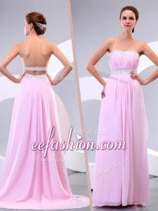 2016 Long Empire Brush Train Beading Prom Dress