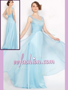 2016 Long Empire Brush Train Light Blue Prom Dresses with Beading