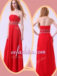 2016 Long Empire Strapless Red Prom Dresses with Beading