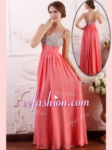 2016 Long Empire Straps Watermelon Prom Dress for Celebrity