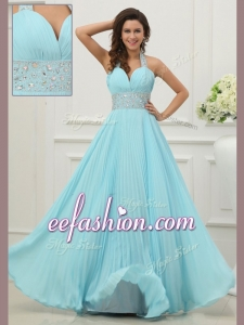 2016 Long Halter Top Prom Dress with Beading and Paillette