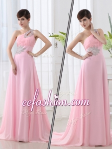 2016 Long One Shoulder Brush Train Beading Baby Pink Prom Dress