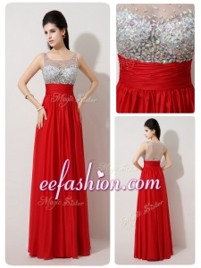 2016 Long Scoop Empire Beading Red Prom Dresses