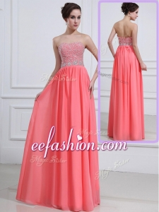 2016 Long Sweetheart Watermelon Prom Dresses with Beading