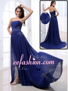 2016 Long legant Brush Train Strapless Beading Prom Dresses in Royal Blue