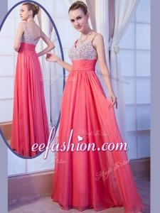 2016 Plus Size Empire Straps Side Zipper Beading Prom Dress for Evening
