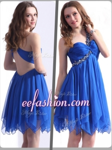 2016 Plus Size One Shoulder Blue Short Prom Dresses with Beading