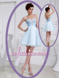 2016 Plus Size Short Sweetheart Beading Prom Dress in Light Blue
