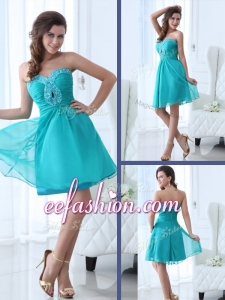 2016 Plus Size Short Sweetheart Beading Prom Dress in Turquoise
