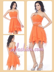 2016 Plus Size Sweetheart Beading and Ruching Short Prom Dresses in Orange