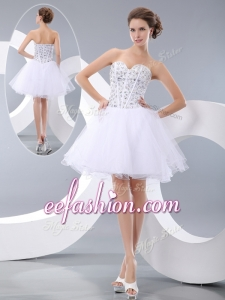 2016 Plus Size White Short Prom Dresses with Beading for Cocktail