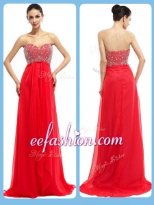 2016 Popular Sweetheart Brush Train Beading Prom Dresses in Red