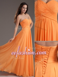 2016 Popular Sweetheart Floor Length Ruching Prom Dress in Orange
