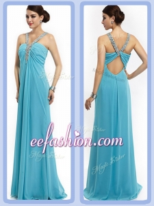 Latest Empire Brush Train Beaded Long Prom Dresses