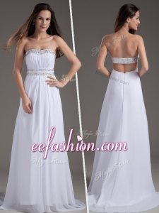 Plus Size Empire Strapless Brush Train White Prom Dresses