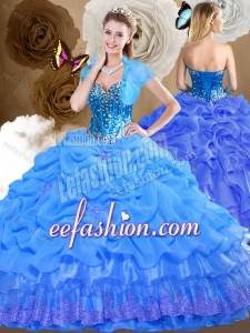 Romantic Sweetheart Quinceanera Dresses with Beading and Pick Ups for 2016