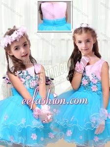 2016 Cute Scoop Mini QuinceaneraDress with Appliques