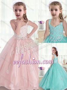 Beautiful Straps Little Girl Pageant Dresses with Appliques and Beading