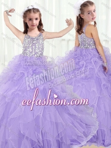 Lovely Scoop Lavender Mini Quinceanera Dresses with Beading and Ruffles
