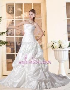 Brand New Strapless Court Train Wedding Dresses with Ruching