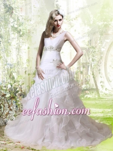 Elegant A Line Beading and Ruffles Wedding Dress with V Neck