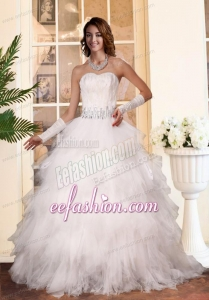 Gorgeous 2014 A Line Ruffled Layers Sweetheart Wedding Dresses