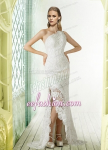 Lace One Shoulder Brush Train Column Wedding Dress for 2014