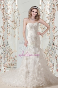 Mermaid Sweetheart Appliques Wedding Dresses for 2015