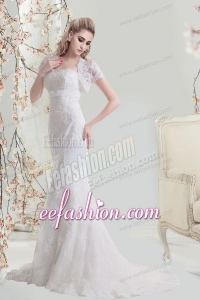 Mermaid Sweetheart Brush Train Lace Wedding Dress with Appliques
