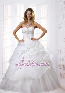 Princess Sweetheart Floor Length 2014 Wedding Dress with Beading