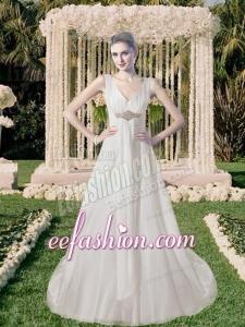 Sturning Beach Empire V Neck Beading Wedding Dress for 2014