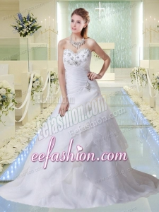 2014 Beautiful A Line Court Train Beading Wedding Dresses with Sweetheart