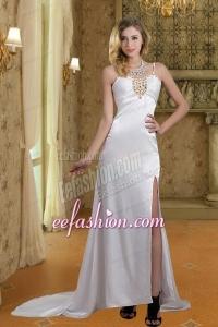 2014 Column Straps Wedding Dresses with Brush Train