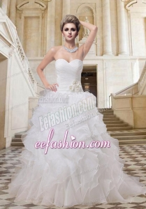 2014 Fashionable A Line Straples Wedding Dress with Court Train
