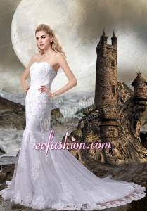 2014 Lace Mermaid Sweetheart Wedding Dress with Lace Up