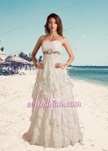 2014 Pretty Sweetheart A Line Wedding Gowns with Brush Train