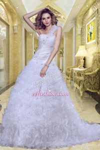 2014 Princess One Shoulder Garden Wedding Dress with Beading