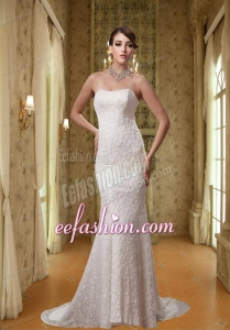 2014 White Strapless Mermaid Lace Wedding Dress with Brush Train
