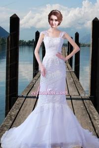 2015 Embroidery Straps Court Train Mermaid Wedding Dresses