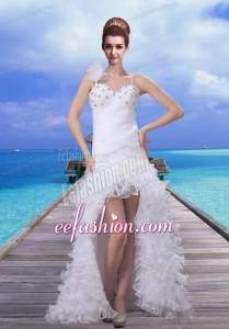 2015 Romantic High Low Beading Wedding Dress