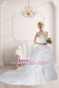 Ball Gown Sweetheart Ruffles 2014 Wonderful Wedding Dress with Court Train