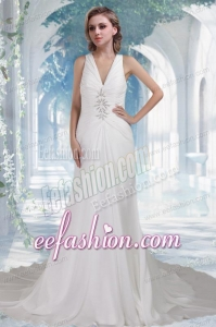 Beach Column V Neck Chapel Train Beading Wedding Dresses