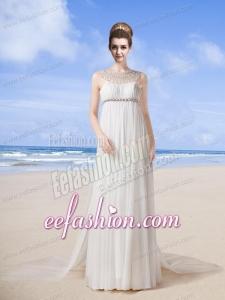 Beach Scoop Empire Brush Train Wedding Dress with Beading